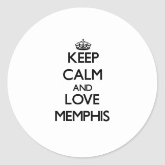 Guarde la calma y ame Memphis Pegatina Redonda