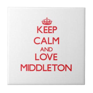 Guarde la calma y ame Middleton Azulejo