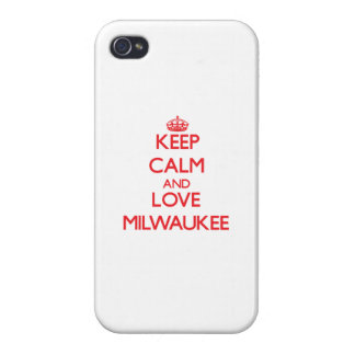 Guarde la calma y ame Milwaukee iPhone 4 Protectores