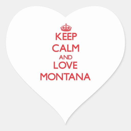Guarde la calma y ame Montana Pegatina En Forma De Corazón