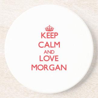 Guarde la calma y ame Morgan Posavasos Para Bebidas