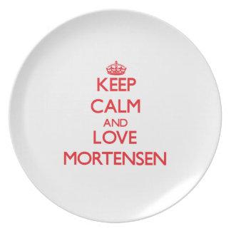 Guarde la calma y ame Mortensen Plato De Comida