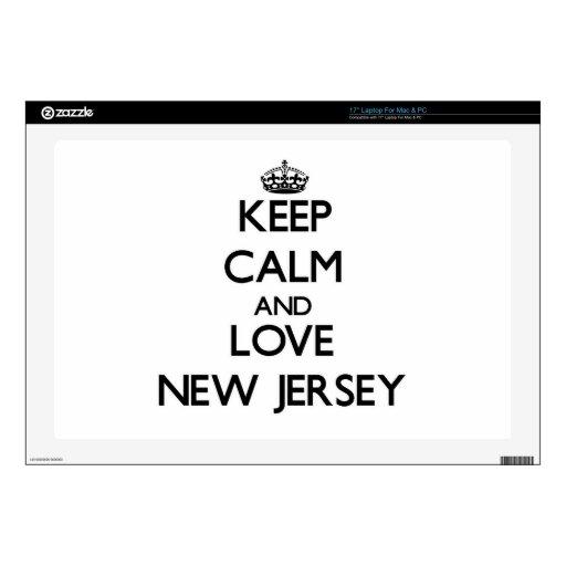 Guarde la calma y ame New Jersey Calcomanías Para Portátiles