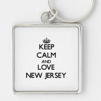 Guarde la calma y ame New Jersey Llavero Cuadrado Plateado