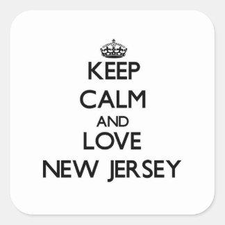 Guarde la calma y ame New Jersey Pegatina Cuadrada