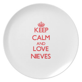 Guarde la calma y ame Nieves Plato De Cena