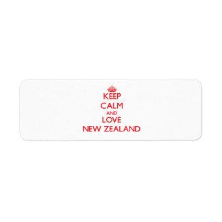 Guarde la calma y ame Nueva Zelanda Etiquetas De Remite