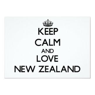 Guarde la calma y ame Nueva Zelanda Invitación 12,7 X 17,8 Cm