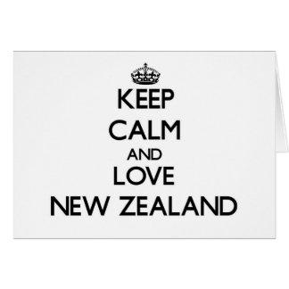 Guarde la calma y ame Nueva Zelanda Tarjeta Pequeña