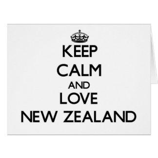 Guarde la calma y ame Nueva Zelanda Tarjeta De Felicitación Grande