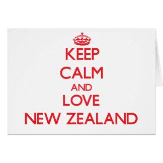 Guarde la calma y ame Nueva Zelanda Tarjeta De Felicitación