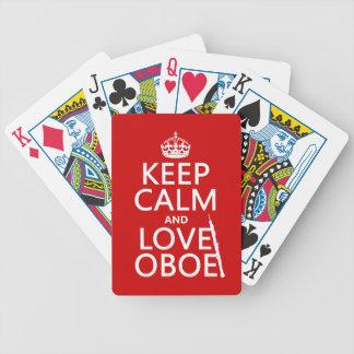 Guarde la calma y ame Oboe cualquier color de fon Baraja De Cartas