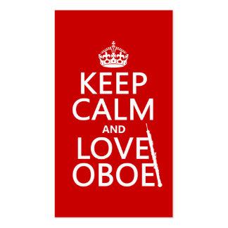 Guarde la calma y ame Oboe (cualquier color de fon Tarjetas De Visita