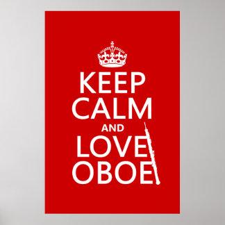 Guarde la calma y ame Oboe (cualquier color de Póster