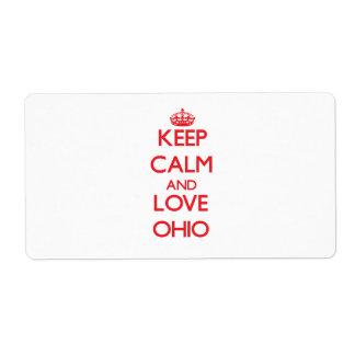 Guarde la calma y ame Ohio Etiquetas De Envío