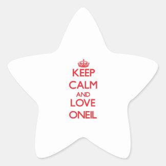 Guarde la calma y ame Oneil Pegatina En Forma De Estrella