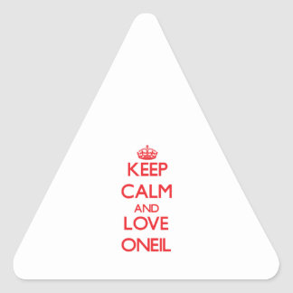 Guarde la calma y ame Oneil Pegatina Triangular