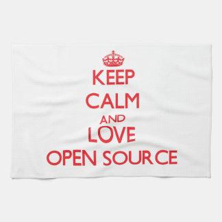 Guarde la calma y ame Open Source Toalla