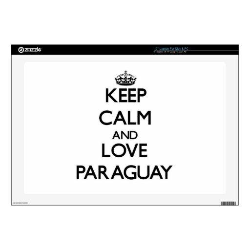 Guarde la calma y ame Paraguay Skins Para 43,2cm Portátiles