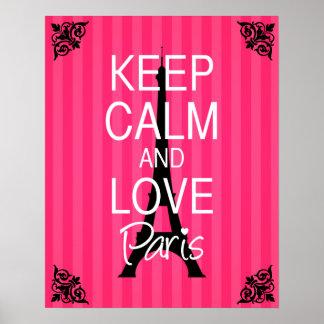 Guarde la calma y ame París Póster