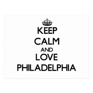 Guarde la calma y ame Philadelphia Tarjetas Postales