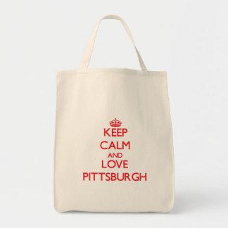 Guarde la calma y ame Pittsburgh Bolsas Lienzo