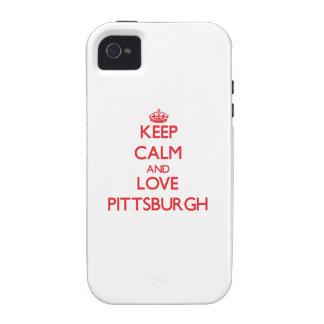 Guarde la calma y ame Pittsburgh iPhone 4/4S Funda