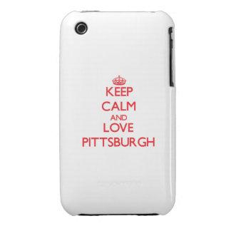 Guarde la calma y ame Pittsburgh Case-Mate iPhone 3 Carcasa