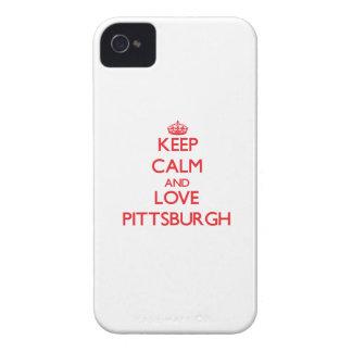 Guarde la calma y ame Pittsburgh Case-Mate iPhone 4 Cárcasa