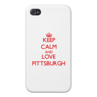 Guarde la calma y ame Pittsburgh iPhone 4 Cárcasas