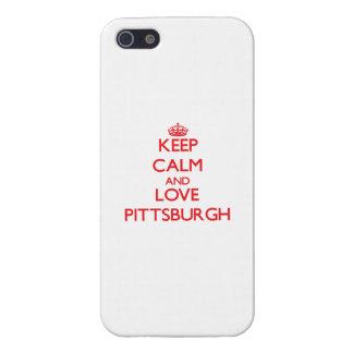 Guarde la calma y ame Pittsburgh iPhone 5 Protectores