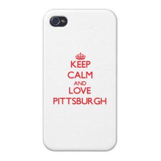 Guarde la calma y ame Pittsburgh iPhone 4 Protectores