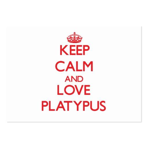 Guarde la calma y ame Platypus Tarjetas De Visita Grandes