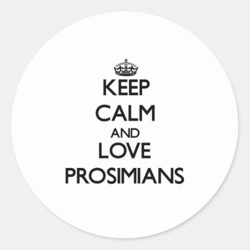 Guarde la calma y ame Prosimians Pegatinas Redondas