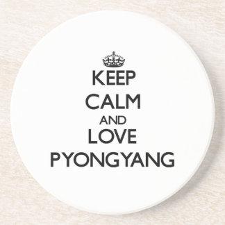 Guarde la calma y ame Pyongyang Posavasos Cerveza