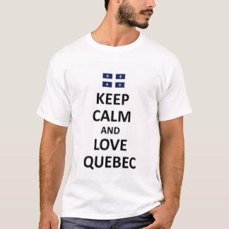Guarde la calma y ame Quebec Playera