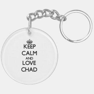 Guarde la calma y ame República eo Tchad Llavero Redondo Acrílico A Doble Cara