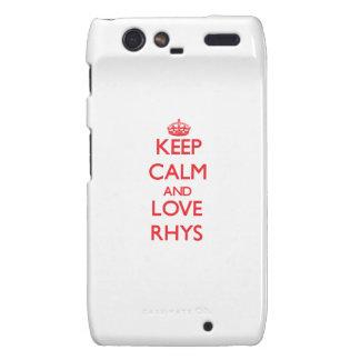 Guarde la calma y ame Rhys Droid RAZR Carcasas
