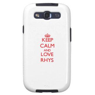Guarde la calma y ame Rhys Samsung Galaxy S3 Carcasa