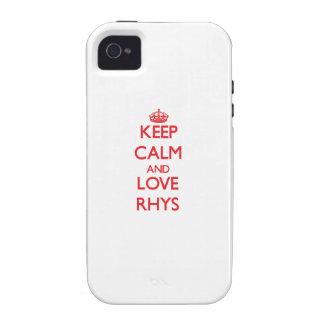Guarde la calma y ame Rhys iPhone 4/4S Carcasas