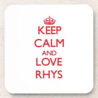 Guarde la calma y ame Rhys Posavasos De Bebida