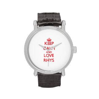 Guarde la calma y ame Rhys Relojes De Mano