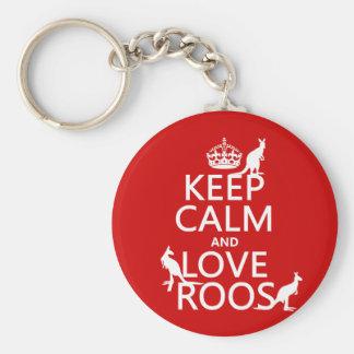 Guarde la calma y ame 'Roos (canguro) - todos los Llavero Redondo Tipo Pin