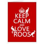 Guarde la calma y ame 'Roos (canguro) - todos los  Felicitaciones