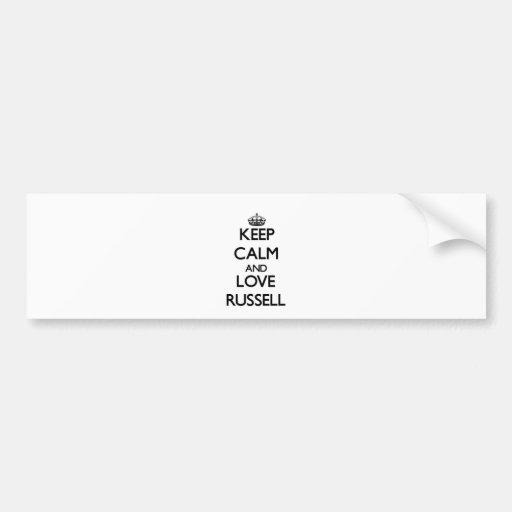 Guarde la calma y ame Russell Pegatina De Parachoque