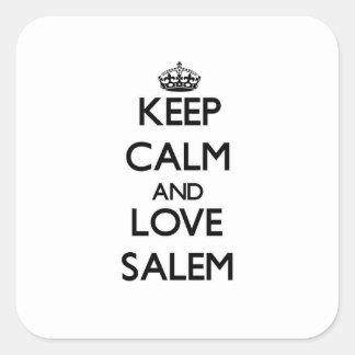 Guarde la calma y ame Salem Pegatina Cuadrada
