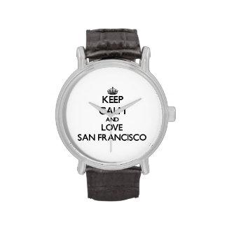 Guarde la calma y ame San Francisco Relojes