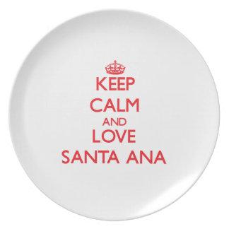 Guarde la calma y ame Santa Ana Plato De Cena
