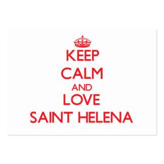 Guarde la calma y ame Santa Helena Plantilla De Tarjeta De Negocio