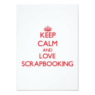 Guarde la calma y ame Scrapbooking Invitación 12,7 X 17,8 Cm